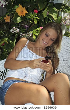 girl texting on her cell