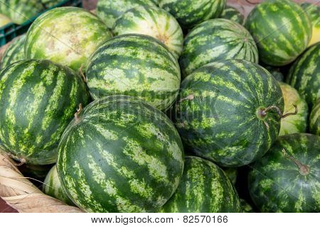 Watermelon Group From A Marketplace In A Basket