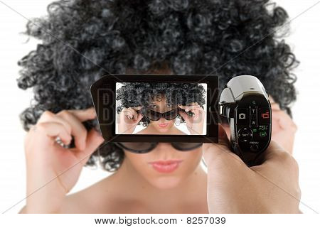 Frizzy Woman With Sunglasses