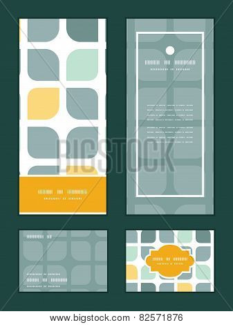 Vector abstract gray yellow rounded squares vertical frame pattern invitation greeting, RSVP and tha