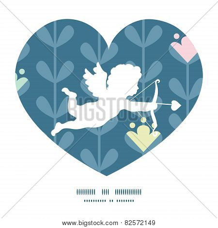 Vector blloming vines stripes shooting cupid silhouette frame pattern invitation greeting card templ
