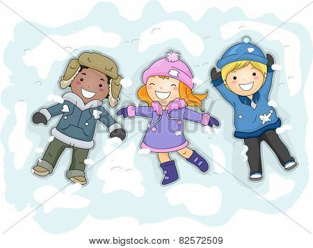 Illustration of Kids in Winter Gear Lying on the Snow