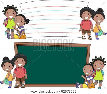 Stickman Illustration of African Kids Standing Beside Blank Boards