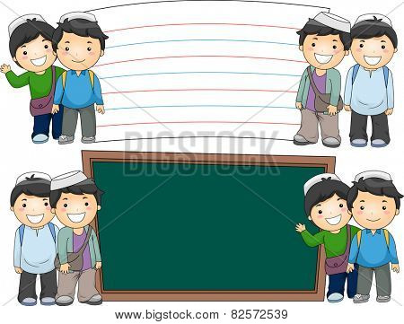 Illustration of Male Muslim Students Standing Beside Blank Boards
