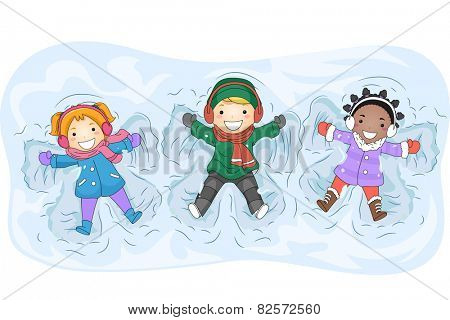 Illustration of Kids in Winter Gear Making Snow Angels