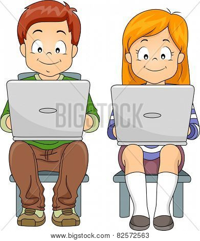 Illustration of a Boy and a Girl Using Laptops