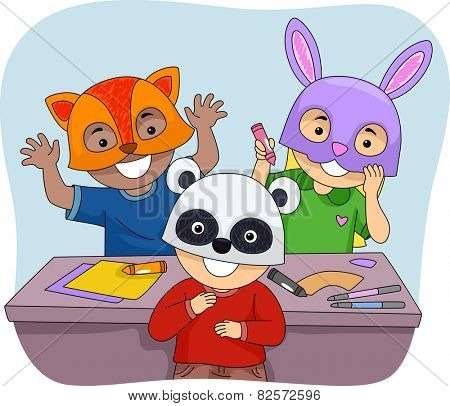 Illustration of Kids Wearing Colorful Animal Masks