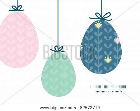 Vector blloming vines stripes hanging Easter eggs ornaments sillhouettes frame card template