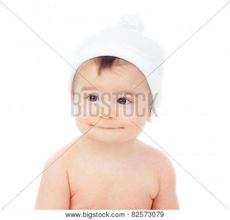Cute baby with a cap isolated on a white backgrond