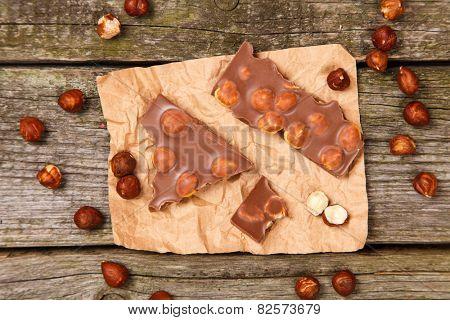 Delicious milk chocolate with hazelnut