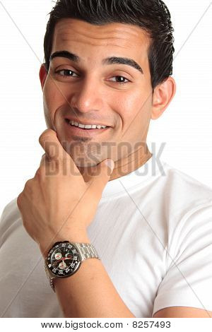 Happy Smiling Man Wearing Watch