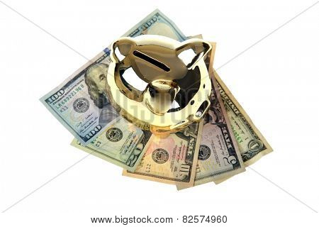 A genuine Golden Piggy Bank isolated on white with room for your text. Saving money for Retirement or a Rainy Day or a Big Ticket Item or something Special for your Special Someone is always good.