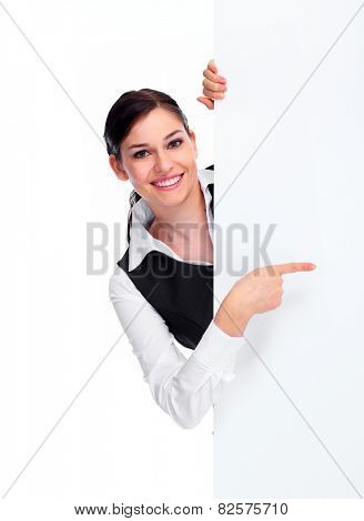 Young Business woman with poster isolated white background