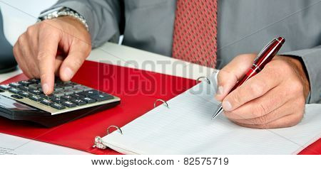 Hands of accountant business man with calculator. Accounting