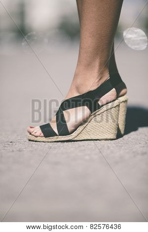 female shoes in closeup