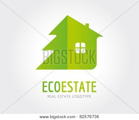 Abstract eco estate vector logo template for branding and design