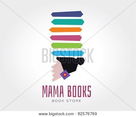 Abstract mama books vector logo template for branding and design