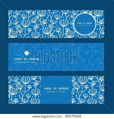 Vector blue white lineart plants horizontal banners set pattern background