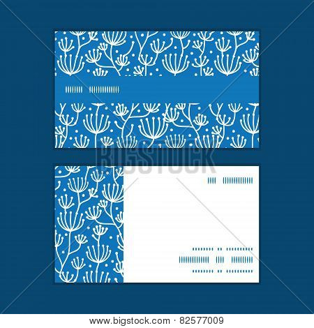 Vector blue white lineart plants horizontal stripe frame pattern business cards set
