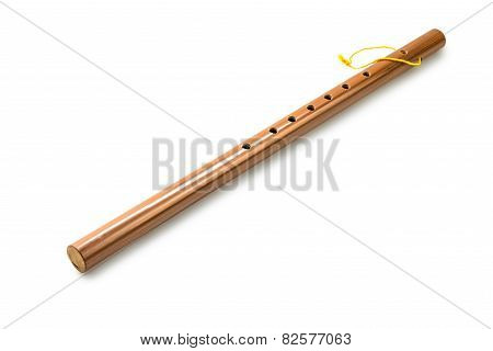 Bamboo Flute, Isolated On White