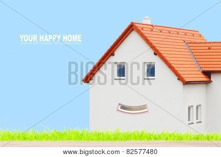 New house on green field with space for your text.