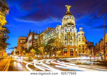 Madrid, Spain cityscape at Calle de Alcala and Gran Via.