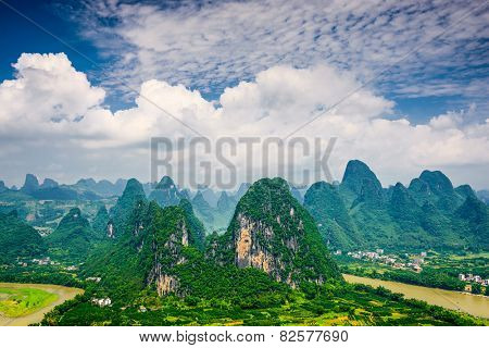 Karst mountain landscape in Xingping, Guangxi Province, China.