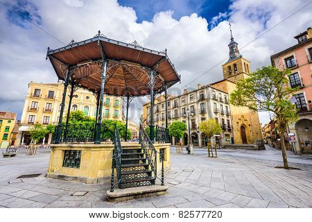 Segovia, Spain gazebo in Plaza Mayor.