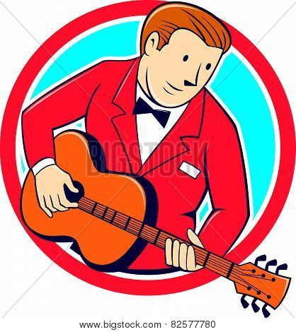 Musician Guitarist Playing Guitar Circle Cartoon