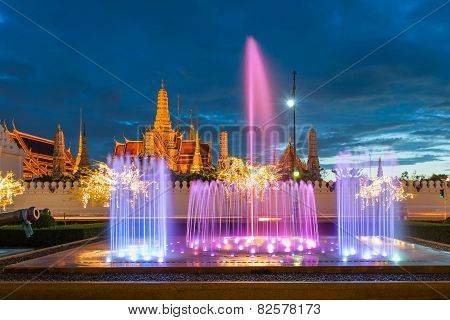 Wat Phra Kaew, Temple Of The Emerald Buddha,grand Palace At Twilight In Bangkok, Thailand