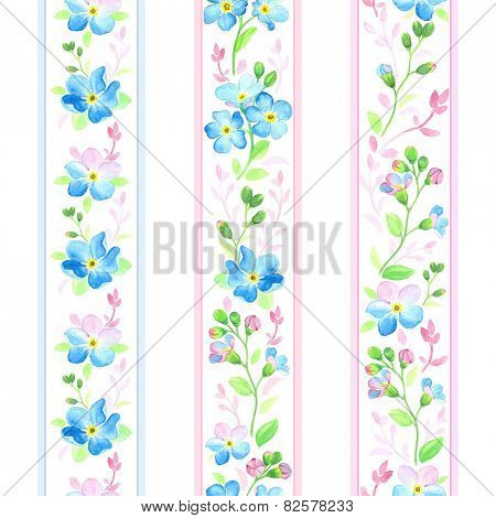 Watercolor vertical ribbons with forget-me-not.