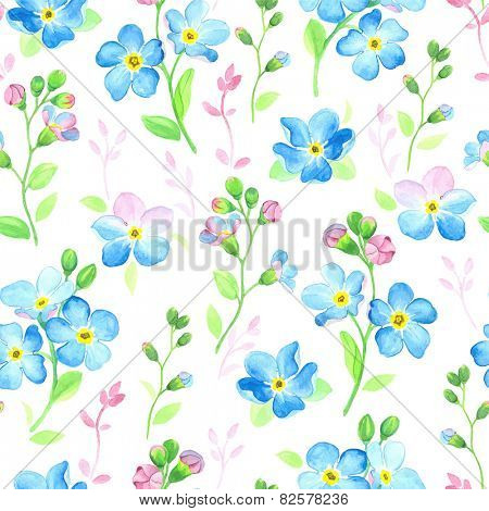 Watercolor seamless pattern with forget-me-not.