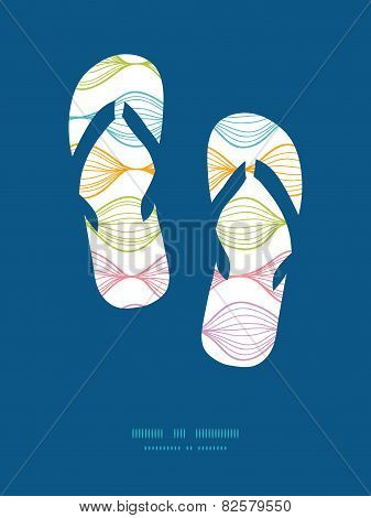 Vector colorful horizontal ogee flip flops silhouettes pattern frame