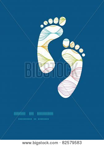 Vector colorful horizontal ogee footprints silhouettes pattern frame