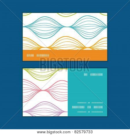 Vector colorful horizontal ogee horizontal stripe frame pattern business cards set