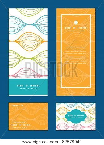 Vector colorful horizontal ogee vertical frame pattern invitation greeting, RSVP and thank you cards