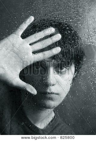 Portrait behind glass