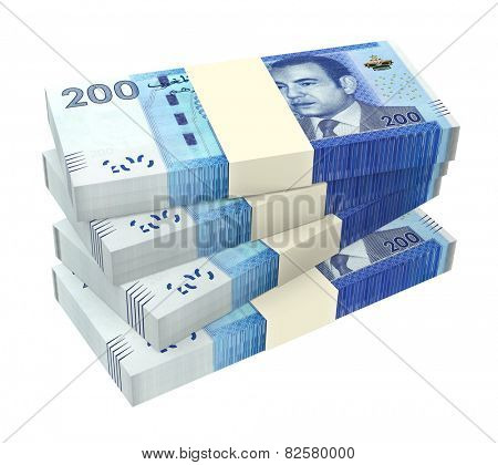 Moroccan money isolated on white background. Computer generated 3D photo rendering