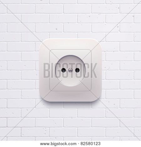 Vector electric white socket on the brick wall.