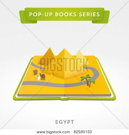 Vector pop-up book with egypt pyramids inside