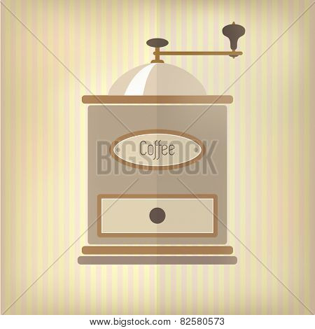 Retro style coffee grinder, with drawer and label, over faded pink and yellow candy stripe background.