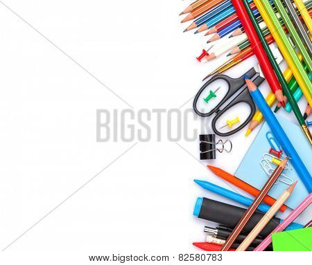School and office supplies. Top view. Isolated on white background