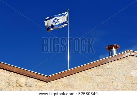 Israel National Flag Wave In The Wind