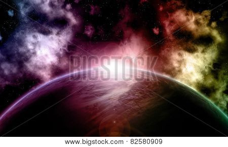 3D space background with fictional planet