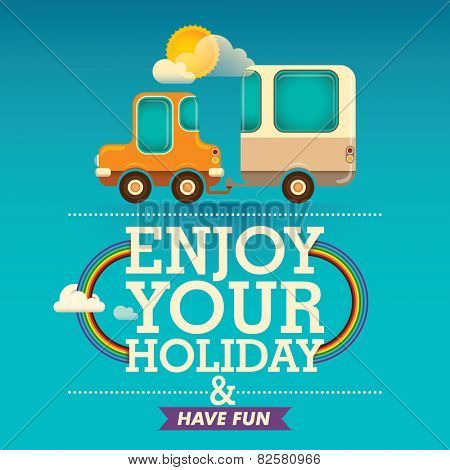 Holiday background with trailer. Vector illustration.