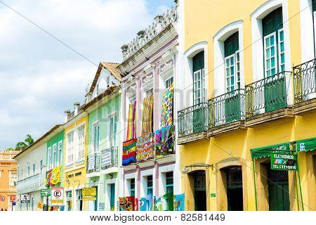 BAHIA, BRAZIL - CIRCA NOV 2014: Pelourinho, the famous Historic Centre of Salvador, Bahia in Brazil.