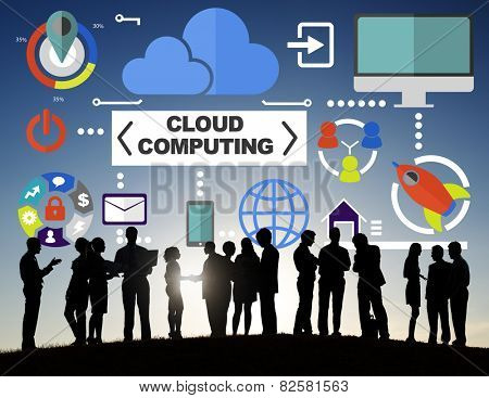 Business People Meeting Global Communications Cloud Computing Concept