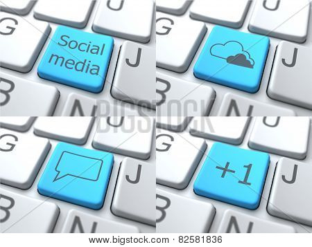 Set of Buttons on Keyboard. Social Media Concept. 3D.