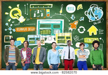 Diversity Casual People Responsive Design Content Idea Team Concept