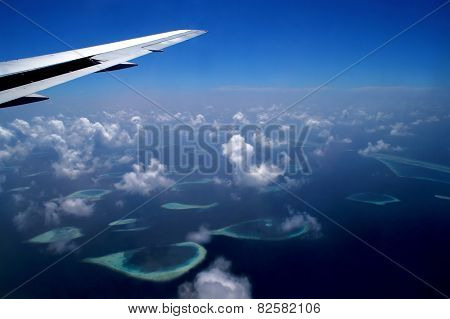 View From The Airplane On An Archipelago Of The Maldives